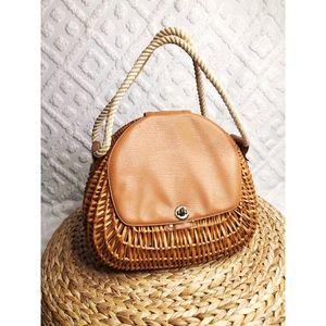 Incredible Vintage woven wooden bucket handbag